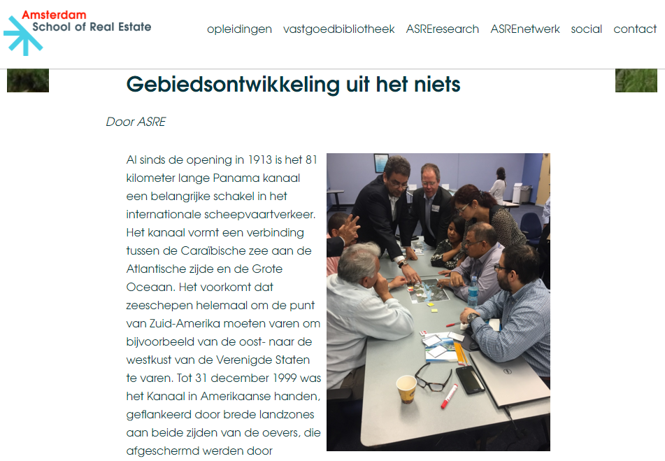 Amsterdam School of Real Estate article screenshot